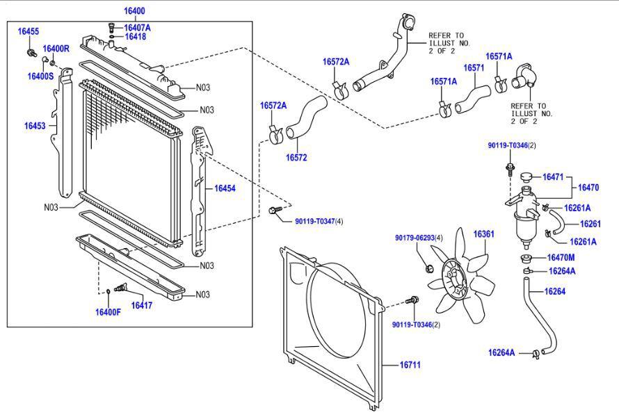 Genuine Toyota Hilux KUN 4WD Radiator hose and Belt Kit