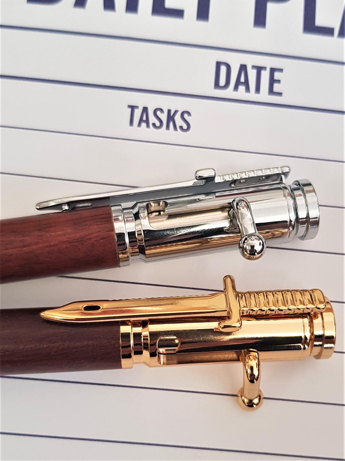 Jarrah Bullet Pens gold and chrome