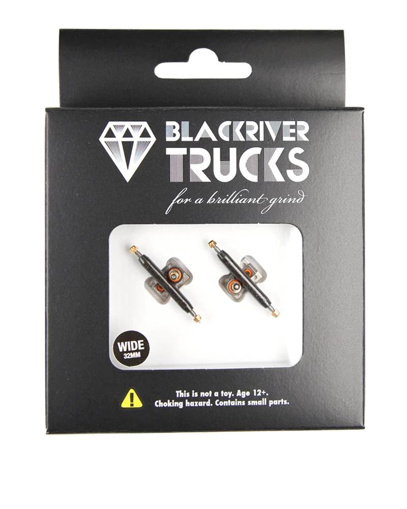 Gold//Black 32mm Berlinwood Blackriver Pro Metal Fingerboard Trucks 2.0 Flat