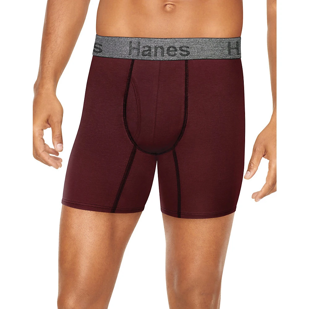Hanes Mens Comfort Flex Fit Ultra Soft Cotton Stretch Boxer Briefs 4-Pack