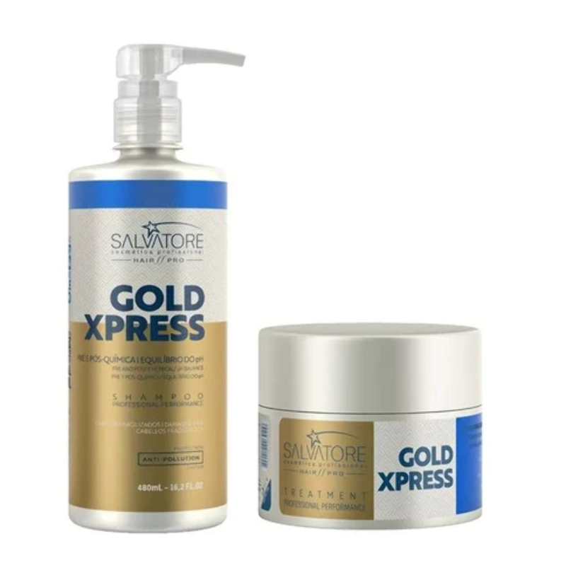 443c4a07859ff Details about Kit Gold Xpress Treatment Home Care Salvatore Cosmetics -  Brazilian Hair Blowout