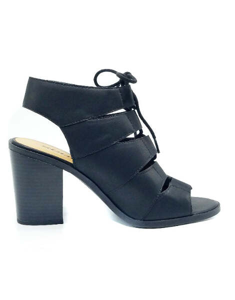ee4327216b0f Women Faux Leather Peep Toe Lace Up Gladiator Open Back Ankle Heels ...